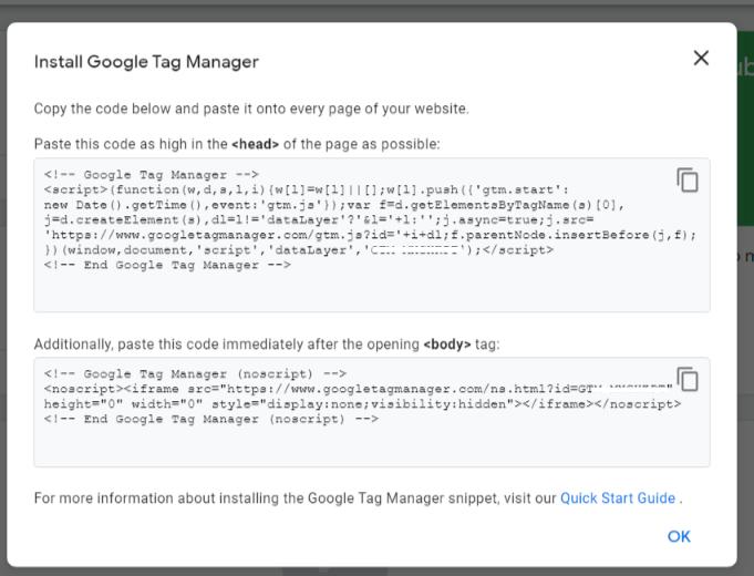 GTM Code to insert in website